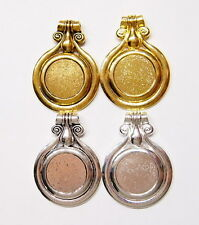 4 Different Colors of 30 mm Round Bail Pendant Settings for Cameos, Cabs, Coins