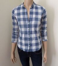 Hollister Womens Sheer Vintage Plaid Shirt Size XS Top Blouse Blue & White