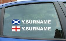 x4 Rally Tag Name Surname Car Window Stickers Decals England Scotland Flag ref:3