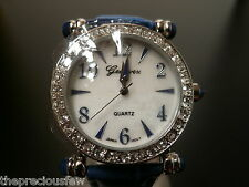 Genevex Ladies Blue Coloured & Rhinestone Party Watch