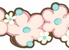 Laser Cut Floral Pink, Blue & Brown with Touch of Green Wallpaper Border SK6354B