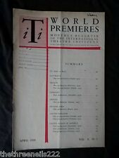 INTERNATIONAL THEATRE INSTITUTE WORLD PREMIER - APRIL 1959 VOL 10 #7