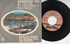 GIL FIELDS & FRATERNITY BROTHERS disco 45 MADE in ITALY 1964 SANREMO Sabato sera