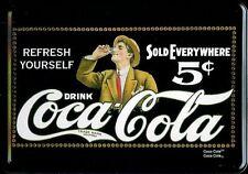Coca Cola drinking Man Blechpostkarte Blechschild Metal Tin Card Sign 10 x 14 cm