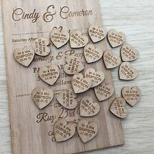 100 Personalised Timber Love Heart Wedding Decorations Bonbonnieres