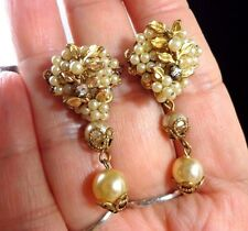 Vintage MIRIAM HASKELL Unsigned Gold Seed Pearl Drop Dangle Screw Back Earrings
