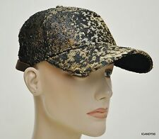 Nwt True Religion Allover Sequins Ball Cap Hat Black/Gold One Size TR1926