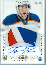 2013-14 NATIONAL TREASURES TYLER PITLICK ROOKIE RC AUTO OILERS OIL DROP   8/99