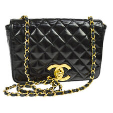 Authentic CHANEL Quilted CC Single Chain Shoulder Bag Black Leather GHW F01857