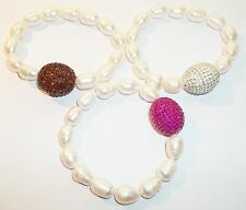Pink Silver Brown Irregular Pearl Stretch Bracelet lot of 3 Jewelry NWOT Crystal