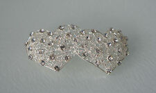 DOUBLE HEART RHINESTONE PIN BROOCH FOR WEDDING DECOR -  NEW & PACKAGED