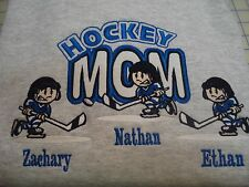 Custom Personalized Embroidery Hockey MOM 3 kids