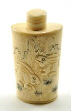 Vintage Chinese Bone Hand Carved Peking Snuff Bottle - Two Bunny Rabbit
