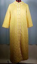 Vtg 60s SATIN QUILTED ROBE Pockets Button Front Yellow Daisy