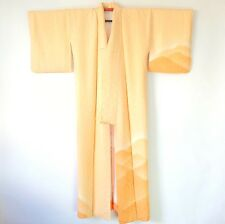 Vintage Japanese Seigaiha Wave Silk Light Orange KImono Gown J54