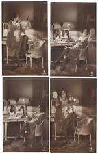 Four PFB Art Real Photo Postcards Woman Applying Makeup in Hand Mirror~105770