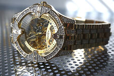 Elgin Mens Skeleton, Automatic Gold Tone Plated Luxury Crystal Watch, Stunning