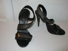 WOMENS BCBG MAX AZRIA BLACK LEATHER SANDAL PUMPS W/ ZIPPER DETAIL SIZE 9 1/2