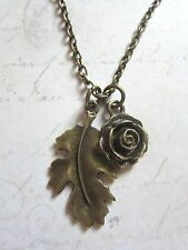 Vintage Look Floral Bronze Rose & Leaf Flower Necklace New in Gift Bag Kitsch