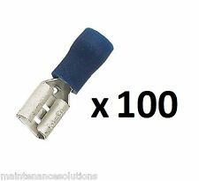 100 x Insulated Terminal Push - On Females 6.3 mm
