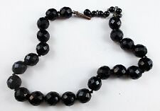 "Vintage Individually Hand-tied Faceted Black Glass Bead 15"" Choker Necklace A01"