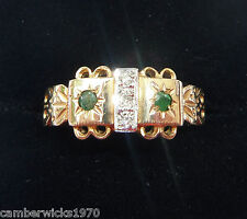 Antique/Victorian Style 9ct Gold Emerald & Diamond Ring, Size O