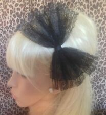 BIG BLACK LACE BOW SATIN ALICE HAIR HEAD BAND 80s RETRO HEN PARTY FANCY DRESS