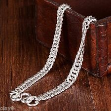 Pure Real S925 Sterling Silver Chain Men 5.5mm Curb Boss Link Necklace 21.6inch