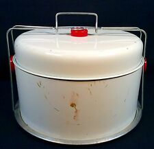 Vtg Pie Cake Carrier 2 Tier Tin Metal Handle Mid Century Retro Picnic Old