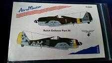AERO MASTER DECALS REICH DEFENSE PART III 72-042C 1:72  ~ NEW 1995 UNUSED ITEM