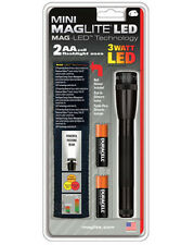 Mini BLACK MagLite w/ Holster LED 2 AA batteries included SP2201H Maglight NEW!