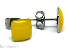 Fabulous Pair Yellow Square Head Stainless Steel Ear Stud Fashion Women Earrings