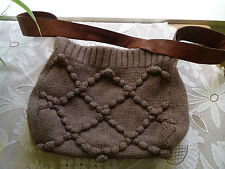 UGG LEATHER AND WOOL KNITTED LARGE SHOULDER BAG BROWN