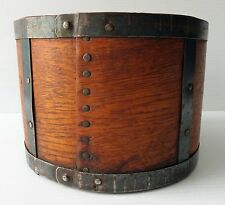 """Antique Round WOOD STORAGE BOX with Metal Bands - 6 3/4"""" Dia."""