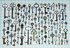 93 Antique Vtg old look Ornate Skeleton Key Lot Pendant Fancy Heart Bow Jewelry