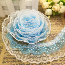 5 Yards 3-layer 45mm Dot Organza Pleated Trim Lace Sewing Sequin Trim #012