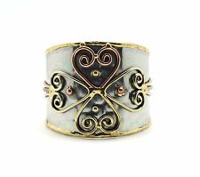 Anju Hearts Mixed Metal Hammered Stainless Steel Cuff Bracelet (B176)