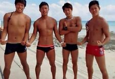 Shirtless Male Beefcake Muscular Asian Men Swim Trunks Beach PHOTO 4X6 C355