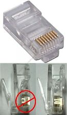 Lot10 SOLID wire RJ45Crimp-On cable End8P8C modular connector for Cat5e Ethernet