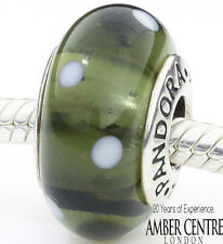 Genuine Pandora Silver Charm Murano Glass Bead with White Dots -790603