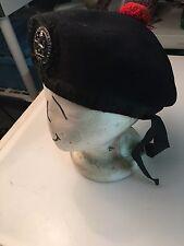 Vintage Scottish Military Beret w/Silver Hat Badge