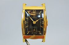 OMEGA VINTAGE 14K GOLD ORIGINAL BLACK GILT DIAL MENS DRESS WATCH!!!