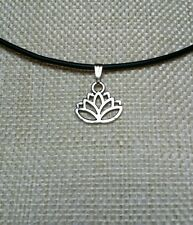 'Lotus Flower' on a black faux leather choker.. FREE gift bag!