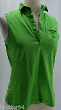 VTG Womens Jamie Sadock gold collared shirt knit top sleeveless green snap up XS