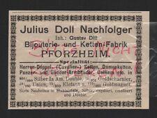 PFORZHEIM, Werbung 1912, Julius Doll Nachfolger Ketten-Bijouterie-Fabrik