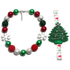 Snowflake Chunky Beads Bubblegum Gumball Necklace Christmas Tree Headband Set
