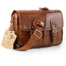Waterproof Vintage PU Leather DSLR Camera Bag Padding Case Messager Shoulder Bag