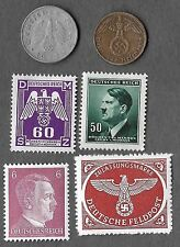 Rare Old WWII Nazi Germany Swastika Coin Stamp Hitler Vintage War Collection Lot