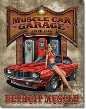 Muscle Car Pinup Detroit Garage TIN SIGN vintage gas pump auto metal poster 1568