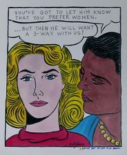 LESBIAN BLONDE WITH BLACK FRIEND 2 WOMEN POP ART COLOR PRINT SIGNED AFPA TS1